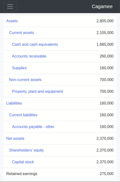 Example balance sheet on Cagamee
