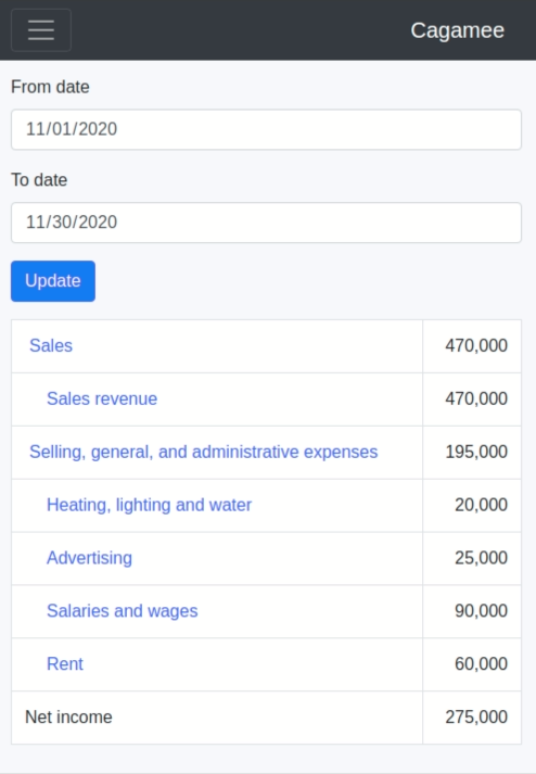 Example income statement on Cagamee