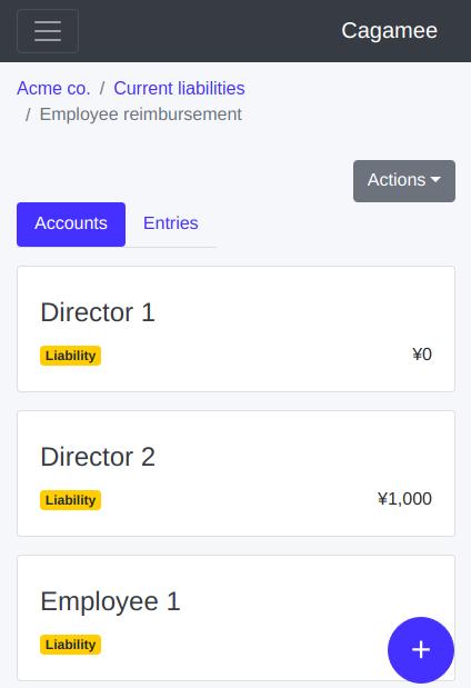 Employee reimbursement child accounts per employee on Cagamee