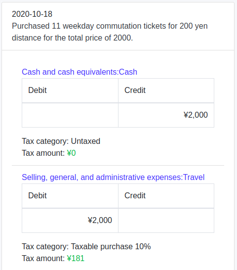 Recording simplified commutation ticket purchase on Cagamee