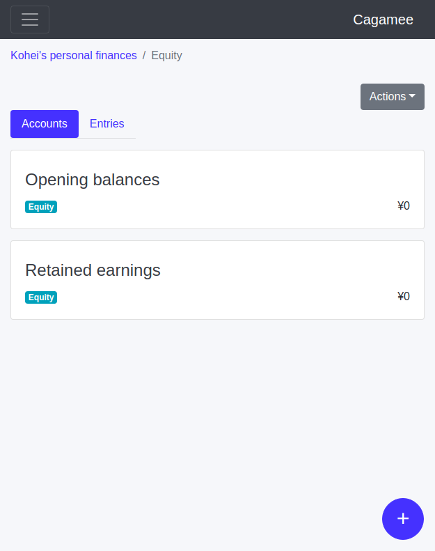 Equity accounts layout example in Cagamee