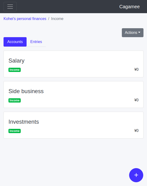 Income accounts layout example in Cagamee